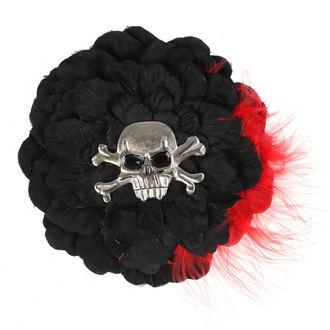 Clamă de Păr Skull - Black/ Red Feathers