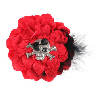 Clamă de Păr Skull - Red / Black Bow