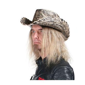 Pălărie WORNSTAR - Hellrider HS Black & Natural Rocker Cowboy, WORNSTAR