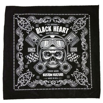 Eșarfă BLACK HEART - PISTON SKULL - BLACK, BLACK HEART