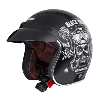 Cască BLACK HEART - PISTON SKULL - NEGRU, BLACK HEART