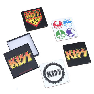 Stative pahar bere Kiss - A Piece Coaster Set, ROCK OFF, Kiss