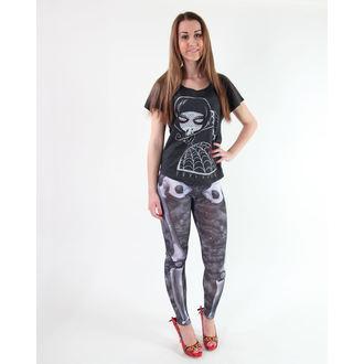 pantaloni femei (colanți) KREEPSVILLE ŞASE ŞASE ŞASE - Skele-Bone - Negru Moarte