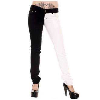 pantaloni femei 3RDAND56th - Despică Picior - Negru / alb, 3RDAND56th