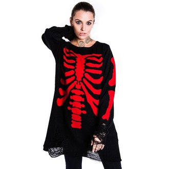 pulover (unisex) KILLSTAR - skeletor - roșu, KILLSTAR