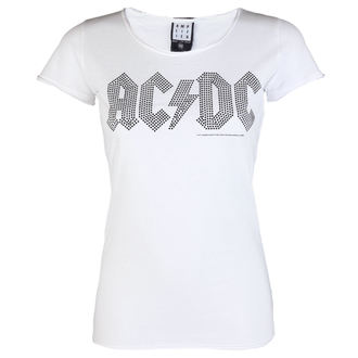 tricou stil metal femei AC-DC - LOGO WHITE BLACK - AMPLIFIED, AMPLIFIED, AC-DC