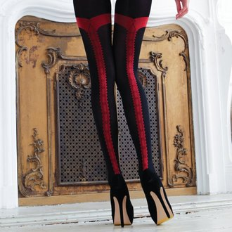 Chiloţi LEGWEAR - charley opaque - black with red seam, LEGWEAR