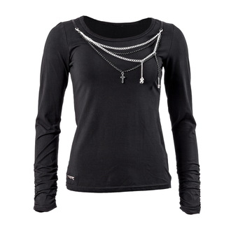 tricou stil gotic și punk femei - Black and Silver - QUEEN OF DARKNESS, QUEEN OF DARKNESS