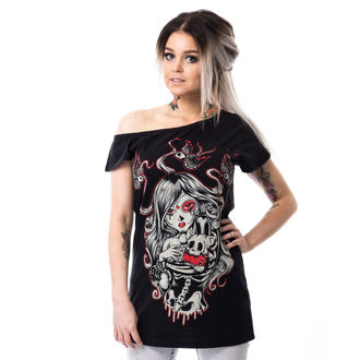 tricou femei - CAT MUERTE OFF SHOULDER - VIXXSIN, VIXXSIN