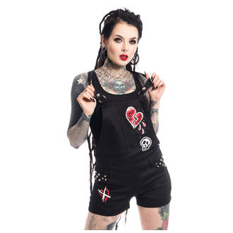 Pantaloni scurți femei Heartless - ANTI LOVE BIB AND BRACE - BLACK, HEARTLESS