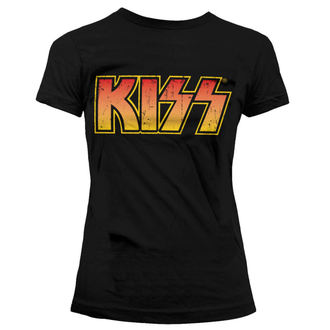 tricou stil metal femei Kiss - Distressed Logotype - HYBRIS, HYBRIS, Kiss