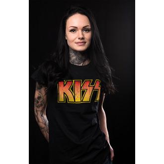 tricou stil metal femei Kiss - Distressed Logotype - HYBRIS, HYBRIS, Kiss