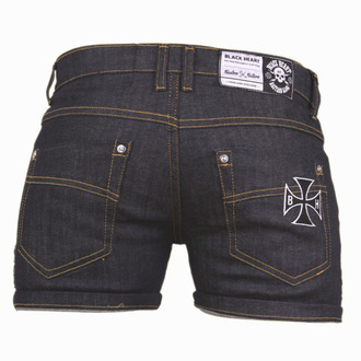 Pantaloni scurți femei BLACK HEART - CROSS SKULL - DENIM, BLACK HEART
