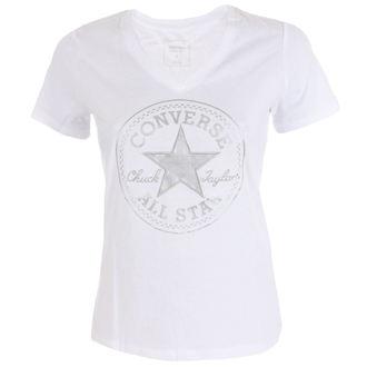 tricou de stradă femei - Metallic Chuck Patch Vneck - CONVERSE, CONVERSE