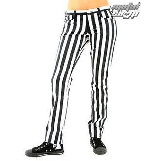 pantaloni femei Negru Pistol - Închide Pantaloni Dunga Negru / alb, BLACK PISTOL