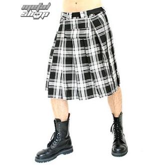 Fustanelă Black Pistol - Short Kilt Tartan Black-White, BLACK PISTOL