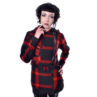 Palton damă POIZEN INDUSTRIES - TILLY - BLACK / RED CHECK, POIZEN INDUSTRIES