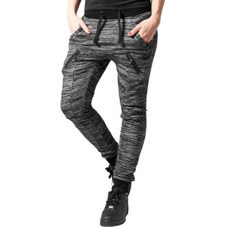 Pantaloni damă (pantaloni de trening) URBAN CLASSICS - Fitted Melange - blk / gry, URBAN CLASSICS
