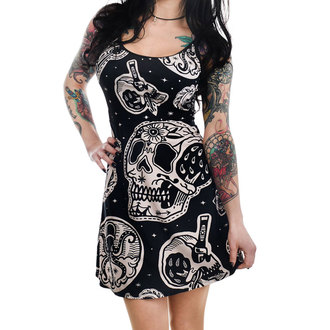 Rochie damă TOO FAST- PATCHWORK TATTOO & SKULL PRINT GINGER SKATER, TOO FAST
