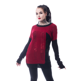 Pulover damă HEARTLESS - FRACTION - BLACK / RED, HEARTLESS