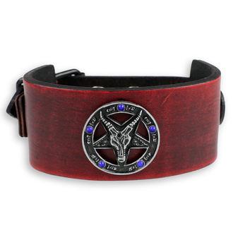 Brăţară Baphomet - red - crystal blue, Leather & Steel Fashion