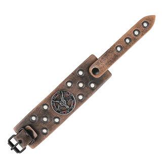 Brăţară Baphomet - brown - criystal red, Leather & Steel Fashion
