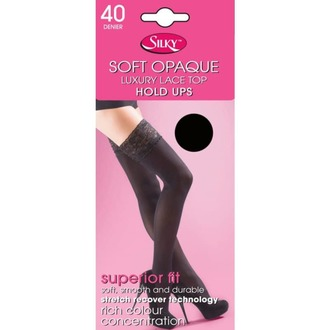 Colanţi LEGWEAR - 40 denier opaque lace top hold ups - black, LEGWEAR