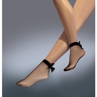 Șosete cu plasă LEGWEAR - Fishnet bow ankle highs - Black, LEGWEAR