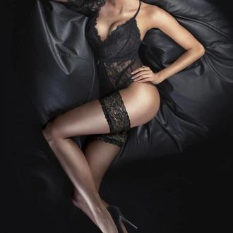 Ciorapi cu bandă de întărire LEGWEAR - Ultra gloss lace top hold ups - Barely black, LEGWEAR